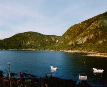 View of Martinique Bay, Conche, NL, site of the wreck of the French vessels Marguerite and Murinne.; French Shore Historical Society 2005