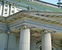 Detail view of Osgoode Hall showing distinctive features of its architecture, 1993.; Parks Canada Agency / Agence Parcs Canada, J Butterill, 1993.