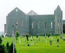 View of St. Raphael's Church Ruins and Cemetery, showing the façade, nave, and transept, 2000; MCL, 2000