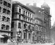 Photo taken in 1927 showing buildings adjacent to the Birkbeck Building; OHT