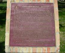 General view of Government House, showing the commemorative plaque, 2009.; Government House, Jimmy Emerson, 2009.
