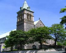 Exterior view of St. Patrick's Church, Patrick Street, St. John's, showing south elevation and view of bell tower, taken July 2005; Nikki Hart/HFNL 2005