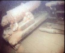Underwater image of the cannon on the Hamilton and Scourge wreck, 1982.; National Geographic, 82-1874, 1982.