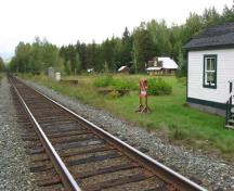 CN Railway at Dorreen, location of former GTP station in foreground and General Store in background; Regional District of Kitimat-Stikine, 2011