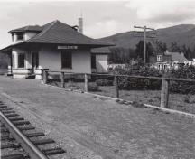 View of Dorreen Railway Station with General Store in the background; Regional District of Kitimat-Stikine, 2014