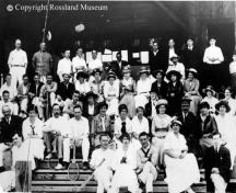 Tennis tournament, June 1915, taken at the club house.  Rossland Museum Photo #21-339.; Rossland Museum Photo #21-339