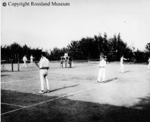 View looking east of Rossland Tennis Courts, circa 1910. Rossland Museum Photo #21-284.; Rossland Museum Photo #21-284
