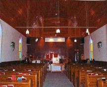 Interior view of Amherstburg First Baptist Church; Parks Canada Agency | Agence Parcs Canada, J. Cousineau.