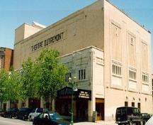 Corner view of the Outremont Theatre, showing two façades and the main entrance, 1993.; Parks Canada Agency | Agence Parcs Canada, Nathalie Clerk, 1993.