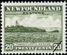 Postage stamp showing Cape Race Lighthouse, 1932.; Library and Archives Canada, Canada Post \ Bibliothèque et Achives Canada, Postes Canada, 1989-565 CPA
