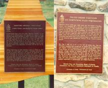 View of the plaques for the Maritime Archaic cemetery and the Phillip's Garden Palaeo-Eskimo habitation site.; Parks Canada Agency / Agence Parcs Canada.