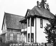 Exterior view, St. Andrew's Church and Manse, circa 1920.; Maple Ridge Museum and Archives, P00970