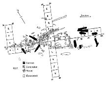 Drawing of the wreck of the HMS Saphire showing the grid on which it lies, various cannon and timbers, the general outlay of the wreck as it was excavated in 1977.; HFNL 2005