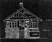 Plan for 4366 Blenkinsop Road by William F. Drysdale, contractor and builder, 1916; District of Saanich Archives