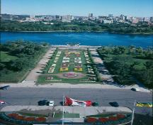 View of the formal promanade which stretches from the front entryway of the Legislative Building to Wascana Lake; Government of Saskatchewan, Wayne Zelmer, 1991
