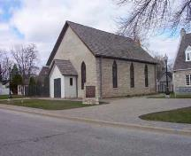 Corner view of the Nazrey African Methodist Episcopal Church National Historic Site of Canada, after renovations.; Agence Parcs Canada / Parks Canada Agency