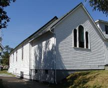 Rear and side elevations, Victoria Road United Baptist Church, Dartmouth, Nova Scotia, 2005.; HRM Planning and Development Services, Heritage Property Program, 2005.