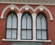 Universalist Church, detail of second storey front elevation window, Halifax, Nova Scotia, 2005.; Heritage Division, NS Dept. of Tourism, Culture and Heritage, 2005.