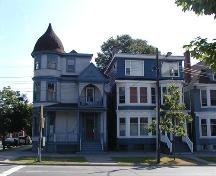 South Park Victorian Streetscape, the last Queen Anne Style at the corner of Morris and South Park Streets beside altered non-registered house, Halifax, Nova Scotia, 2005.; Heritage Division, NS Dept. of Tourism, Culture, and Heritage, 2005.
