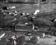 This image shows the Humphrey residence (marked in red) which was located on the southern end of the J. A. Humphrey & Son woolen mill.; Moncton Museum