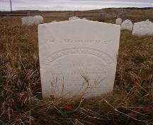 Earliest visible headstone, dated 1855.  Earlier markers may be buried or hidden by ground cover.; HFNL 2005