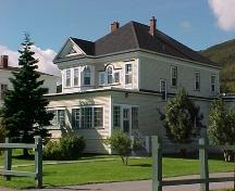Exterior view of front and right facades, Prebble House, Woody Point, NL.; Town of Woody Point 2005