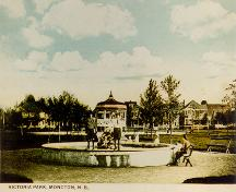 This postcard view shows the fountain that was installed in the park in 1915.; Moncton Museum