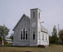 View of church and corner tower from the west, 2003.; Government of Saskatchewan, Jennifer Bisson, 2003
