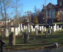 South-east view including some of the oldest headstones, the Old Cemetery, Wolfville, 2005.; Heritage Division, NS Dept. of Tourism, Culture and Heritage, 2005