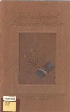 "Cover of ""Just a Sprig of Mountain Heather,"" 1914 / Couverture de « Just a Sprig of Mountain Heather », 1914"