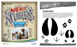 Example of the Xplorers book for l'Anse aux Meadows, Parks Canada / Example d'un livre des Xplorateurs produit pour l'Anse aux Meadows, Parcs Canada